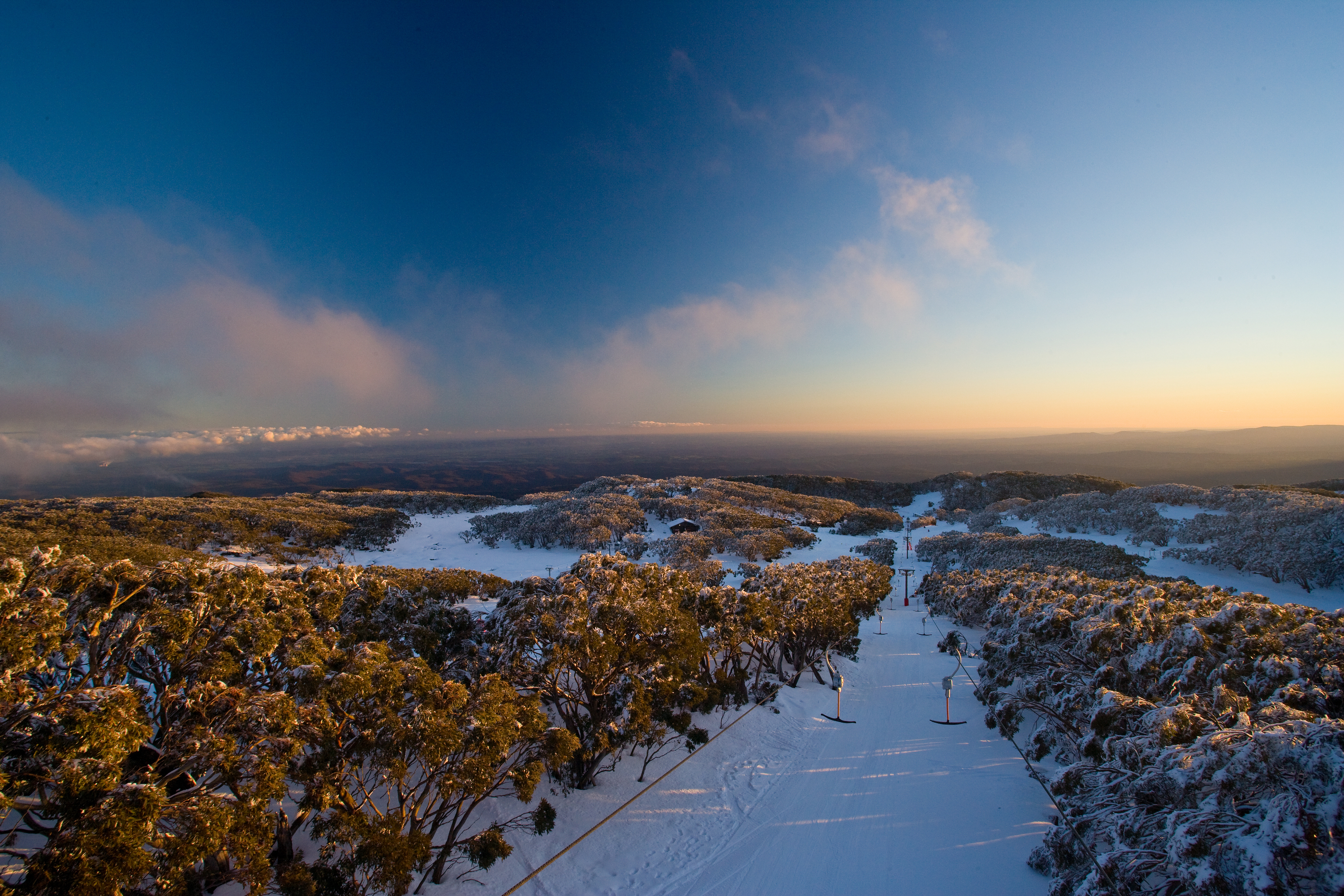 Ski slopes Mount Baw Baw Alpine ranges of Victoria
